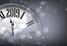 Grey New Year bakgrund 2019 med den suddiga klockan vektor illustrationer
