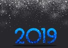Grey New Year bakgrund med det blåa tecknet för mosaik 2019 vektor illustrationer