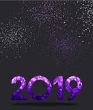Grey New Year bakgrund med det purpurfärgade tecknet för spektrum 2019 vektor illustrationer