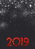 Grey New Year bakgrund med det röda tecknet för mosaik 2019 stock illustrationer