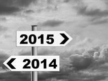 Grey New Year - poteau indicateur pour moins l'optimiste image stock