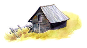 Grey old barn. On yellow grass, painted with watercolours Royalty Free Stock Photos