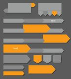 Grey, orange arrows, buttons, charts, infographics. Royalty Free Stock Photography