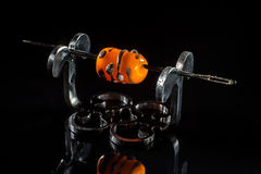 Grey and orange glass bead on stand Stock Photo