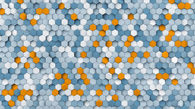 Grey and orange hexagons abstract 3D rendering. Grey and orange hexagon pattern. Modern abstract background. Geometric 3D rendering Royalty Free Stock Photo