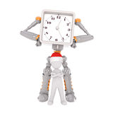 Grey and orange robot with clock at chest Royalty Free Stock Image