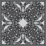 Grey ornamental floral paisley bandanna Royalty Free Stock Photos