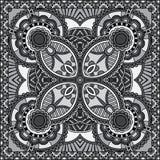 Grey ornamental floral paisley bandanna. Royalty Free Stock Photo