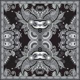 Grey ornamental floral paisley bandanna Stock Photo