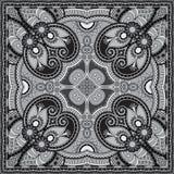 Grey ornamental floral paisley bandanna. Stock Image
