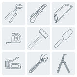 Grey outline house remodel tools icons. Vector various grey outline house repair instruments equipment icons Royalty Free Stock Image