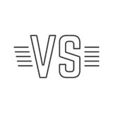 Grey outline versus sign like opposition. Concept of confrontation, retro mark, together, standoff, final fighting.  on white background. flat style modern Royalty Free Stock Image