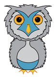 Grey owl cartoon illustration vector Royalty Free Stock Image