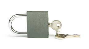 Grey padlock and keys Royalty Free Stock Photography