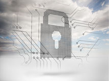 Grey padlock with sky on the background Royalty Free Stock Image