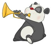 Illustration of a Cute Panda Trumpeter. Cartoon Character. The grey panda the musician plays a yellow pipe Royalty Free Stock Photography
