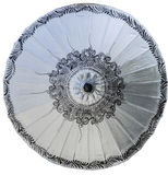 Grey paper umbrella with black pattern Royalty Free Stock Photo