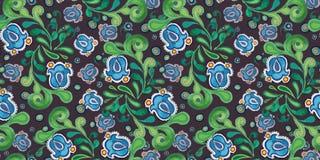 Grey pattern with blue bellflower. stock illustration