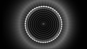 Grey pattern made of squares spinning against black background stock footage