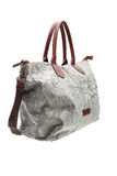 Grey patterned womens bag  on white background. Royalty Free Stock Image