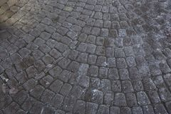 Grey paving stones. Pavement cobbled Greypaving Royalty Free Stock Photography