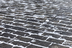 Grey paving stones of the Red square in Moscow in winter time Stock Photography