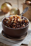 Grey peas with bacon royalty free stock photo
