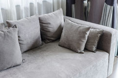 Grey pillows on modern sofa in living room Stock Photo