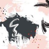 Grey pink grunge graphic design. Paint swatch abstract pattern. Grunge dynamic horisontal elements. Hand drawn brushstroke creativ stock illustration