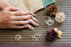 Grey with pink moon nail art manicure Royalty Free Stock Images