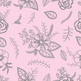 Grey and pink seamless  pattern with anemones, roses and leaves on a delicate pink background Royalty Free Stock Photos