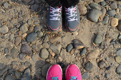 Grey And Pink Sneakers fotografía de archivo