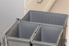 Grey plastic boxes Stock Photo