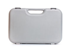 Grey  plastic tool box isolate white background Royalty Free Stock Photo