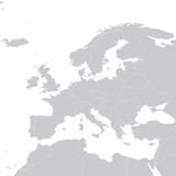 Grey political map of Europe. Political Europe map. Vector illustration Stock Photo