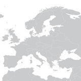 Grey political map of Europe. Vector illustration.  Stock Image