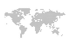 Grey Political World Map Vector aisló el ejemplo Foto de archivo