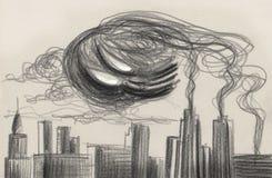 Grey polluted city artwork. Dark metropolis with a big skull cloud of smog, pencil artwork Stock Photography