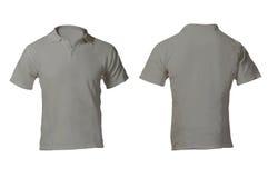 Grey Polo Shirt Template en blanco de los hombres Imágenes de archivo libres de regalías