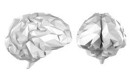 Grey polygonal brain. 3d rendering grey polygonal brain isolated on white