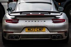 Grey Porsche 911 Turbo S 991 2 lizenzfreie stockfotografie