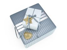 Grey present box 3D illustration Royalty Free Stock Photo