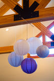 Grey and Purple Paper Lanterns Stock Images