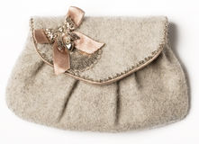 Grey Purse With Bow Stock Photography
