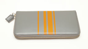 Grey purse with zipper white background Stock Images