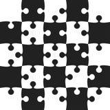 Grey Puzzle Pieces Black - zackiges Feld-Schach Stockfotos