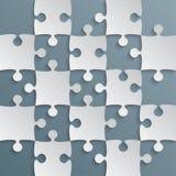 Grey Puzzle Pieces Blue Grey - het Schaak van het Figuurzaaggebied Royalty-vrije Stock Afbeelding