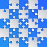 Grey Puzzle Pieces Blue - scacchi del giacimento del puzzle Fotografie Stock Libere da Diritti