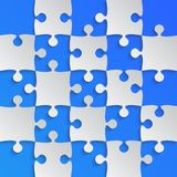 Grey Puzzle Pieces Blue - JigSaw Field Chess. Grey Puzzle Pieces Blue in a Square - JigSaw - Vector Illustration. Vector Background. Field for Chess Royalty Free Stock Photos