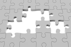 Grey puzzle pieces. With gap, three-dimensional rendering Royalty Free Stock Images